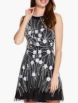 Adrianna Papell Beaded Halter Mini Dress, Black/Ivory