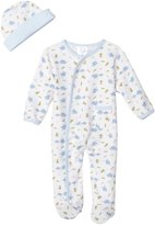 SpaSilk SL A7P-03 Sleepwear Footie Set With Hat - Blue Elephant, 3 Months