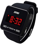 SKMEI Touch Screen Jelly Rubber Band Digital LED Waterproof Boys Girls Sport Casual Wrist Watches Black