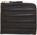 Comme des Garcons Embossed Stitch Small Zip Wallet in Black.