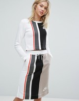 Nike Striped Cropped Long Sleeve Top