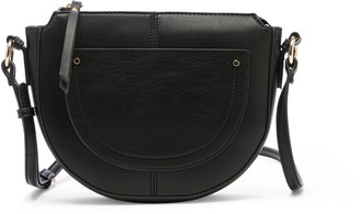 Sole Society Women's Yuri Crescent Crossbody Vegan Bag Leather Crossbody Black Vegan Leather From