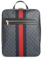 Gucci Men's Gg Leather Trim Backpack - Black