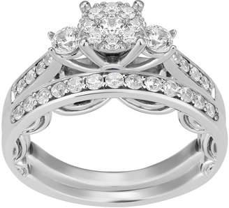 ENCHANTED FINE JEWELRY BY DISNEY Enchanted Disney Fine Jewelry Womens 3/4 CT. T.W. Genuine White Diamond 14K Gold Cinderella Bridal Set