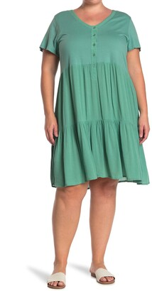 14th Place Button Front Tiered Dress