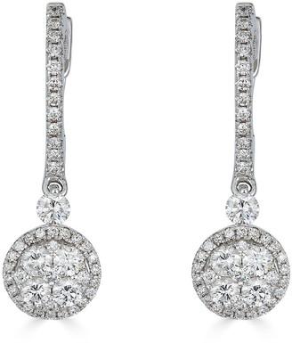 Zydo Luminal 18k White Gold Diamond Stick and Drop Earrings