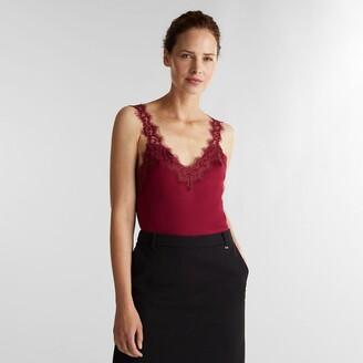 Esprit V-Neck Vest Top with Lace Trim