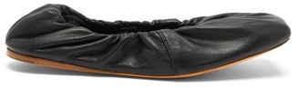 Ganni Gathered Nappa-leather Ballet Flats - Black