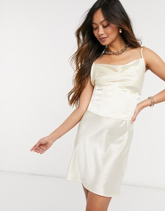 Steele corset slip dress in ivory