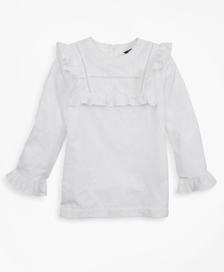 Brooks Brothers Girls Cotton Long-Sleeve Ruffle Blouse