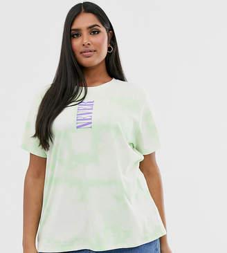 Asos DESIGN Curve tie dye t-shirt with slogan-Green