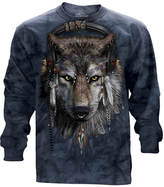 The Mountain Blue Wolf & Feather Long-Sleeve Tee - Unisex