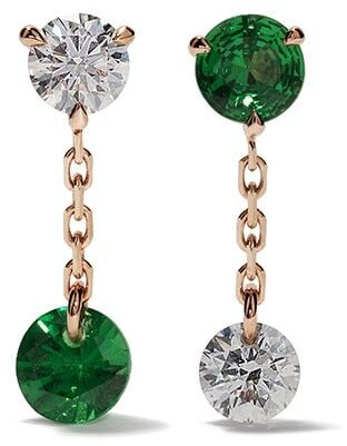 Raphaele Canot 18kt rose gold Set Free Mismatch tsavorite and diamond earrings