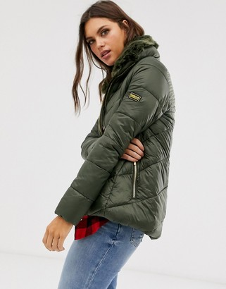 Barbour International nurburg chevron quilted jacket with detachable faux fur collar-Green