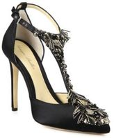 Monique Lhuillier Freja Jeweled Satin T-Strap Pumps
