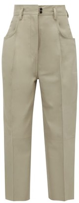 Petar Petrov Wide-leg Cropped Leather Trousers - Light Grey