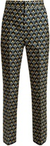Marni Portrait-print cotton-blend cropped trousers