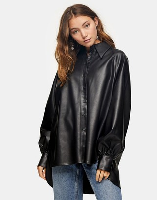 Topshop oversized faux leather shirt in black