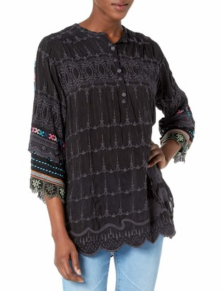 Johnny Was Women's Tunic with Tonal Embroidery and Long Sleeve