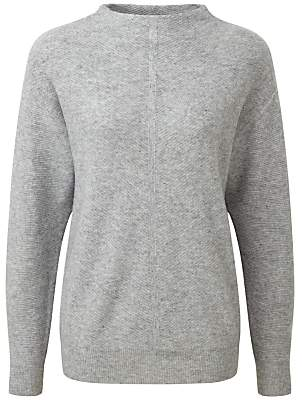 Pure Collection Fernbrook Slouch Sleeve Jumper, Heather Grey