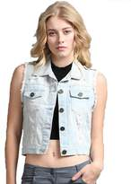 Fashion Secrets Women`s Denim / Jeans Short Casual Vest Casual Jacket