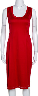Dolce & Gabbana Red Stretch Cotton Sleeveless Midi Dress XL