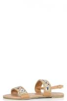 Quiz Tan Embellished Strappy Sandals