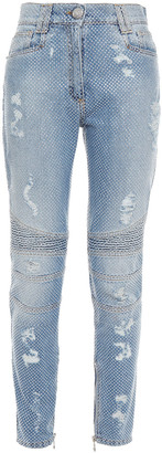 Balmain Crystal-embellished Distressed High-rise Skinny Jeans