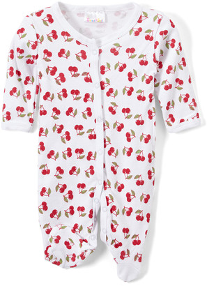 Sweet & Soft Girls' Footies White - White & Red Cherry Footie - Newborn & Infant