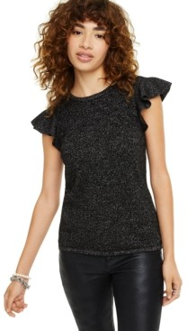Charter Club Lurex Cashmere Ruffle Cap-Sleeve Top, Created for Macy's