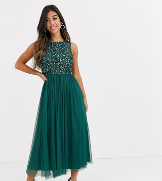 Maya Petite Bridesmaid delicate sequin 2 in 1 midaxi dress in green