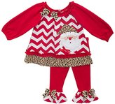 Rare Editions Little Girls' Cheetah Santa Legging Set