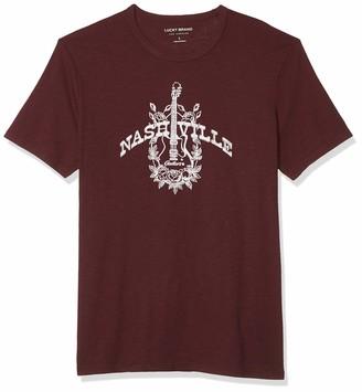 Lucky Brand Men's Short Sleeve Crew Neck Nashville Guitars T Shirt