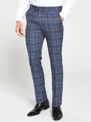 River Island Syriams Blue Check Trousers