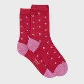 Paul Smith Women's Red 'Split Dot' Pattern Socks