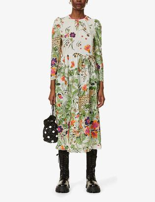 RED Valentino Safari-print silk midi dress