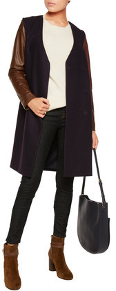 Theory Quennel Convertible Leather-Paneled Stretch Wool-Blend Coat