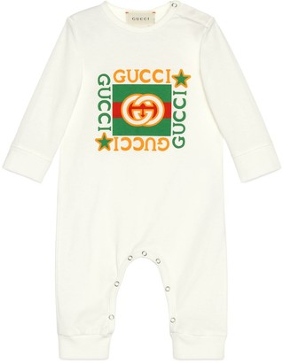 Gucci Baby cotton one-piece with vintage logo print
