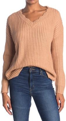 Lush Scalloped V-Neck Sweater