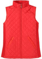 Bienzoe Women Slim Casual Zip Quilted Sleeveless Light weight Vest Stretch Rib Size L