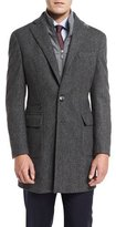 Neiman Marcus Herringbone Single-Breasted Topcoat, Gray