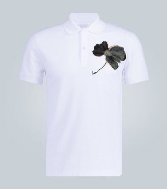 Alexander McQueen Floral embroidered polo shirt