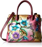 Anuschka Anna Handpainted Leather Large Expandable Tote, Floral Berries Wine