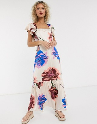 Liquorish square neck ruffle shoulder smock maxi dress in oversized bloom