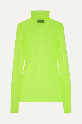 we11done Neon Stretch-mesh Turtleneck Top - Yellow