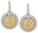 Judith Ripka As Is Sterling Yellow & White Diamonique Lotus Earrings