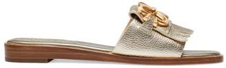 Kate Spade Positano Flat Metallic Leather Sandals