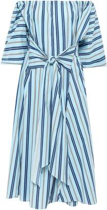 Tome Off-the-shoulder Striped Stretch-cotton Midi Dress