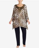 Ellen Tracy Plus Size Gold-Foil-Neckline Pajama Set