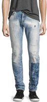 PRPS Demon Distressed Patchwork Slim-Straight Jeans, Riptide Light Wash